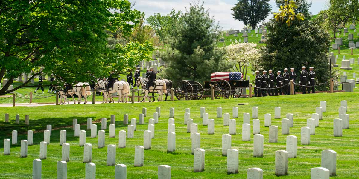 Rows of gravestones and funeral Service for a Fallen Soldier at Arlington Cemetery showing horsed pulling a carriage that carries a casket covered with a US flag