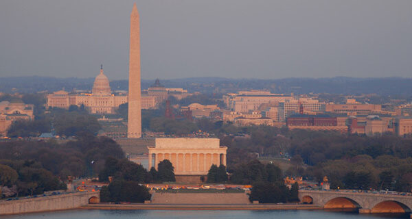 view at dusk of Washington DC National Mall featuring Lincoln Memorial, Washington Monument and US Capitol and a view of Washington DC
