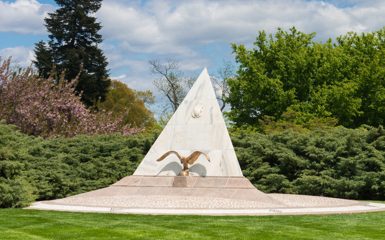 US Coast Guard Memorial shaped like a pyramid with an eagle on the front